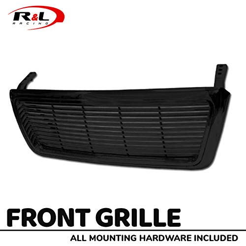 R&L Racing Gloss Black Finished Front Grill Horizontal Billet Style Hood Bumper ABS 2004-2008 for Ford F150 Pickup Truck (Racing Hood Ford)