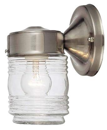 Hardware House 54 4692 Jelly Jar   One Light Outdoor Wall Mount, Satin  Nickel