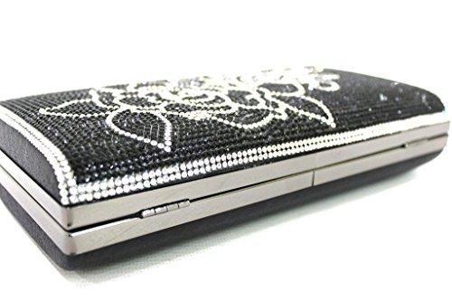 Borsetta da sera L.strass elegante Y256 nero moda Italiana