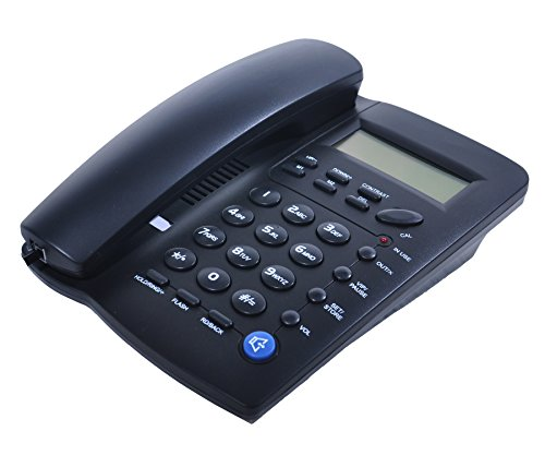 JW Y043 Corded Telephone with Speaker, Display, Basic Calculater and Caller ID, Black