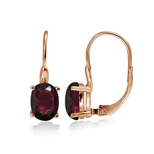Rose Gold Flashed Sterling Silver Garnet 8x6mm Oval Leverback Earrings