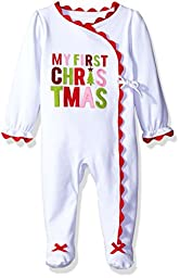 Mud Pie Baby Girl Holiday One Piece Playwear Set Long Sleeve, First Christmas, 6-9 Months