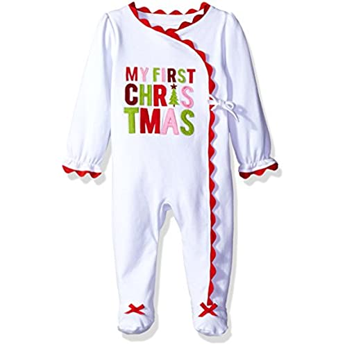 mud pie baby girl holiday one piece playwear set long sleeve first christmas 0 3 months