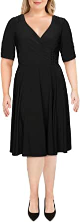 GABBY SKYE Women's Elbow Sleeve V-Neck Solid Fit and Flare Dress