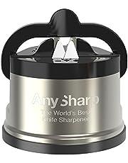 AnySharp Pro Afilador de Cuchillos (Metal) con Ventosa, Metal Cepillado