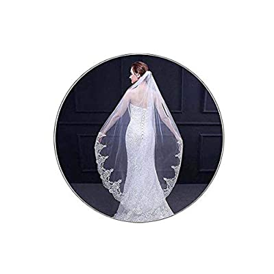 Yalice Women's Lace Appliqued Bride Wedding Veil 1 Tier Long Knee Length Bridal Veils Soft Tulle Hair Accessories