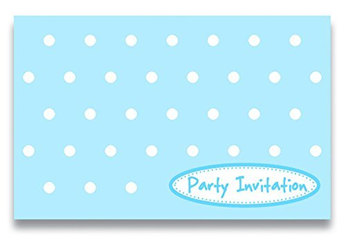 LolliZ Invitation Cards W/ Envelopes, Blue/Polka Dots, 12 Pcs