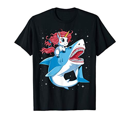 Unicorn Riding Shark T shirt Boys Kids
