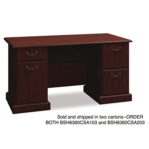 BSH6372CSA203 - Bush Syndicate Collection Tall Hutch, Articulating Keyboard Shelf and Multipurpose Drawer - Bush Syndicate Collection Double Pedestal Desk - ()