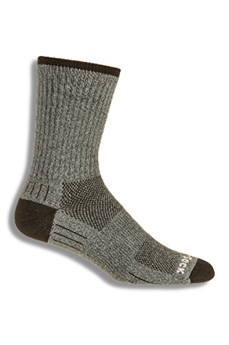 (WrightSock Men's Adventure Crew Sock, Grey Marl, Large)