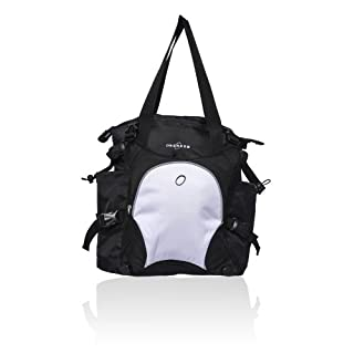 Obersee Innsbruck Diaper Bag Tote with Cooler, Black/White