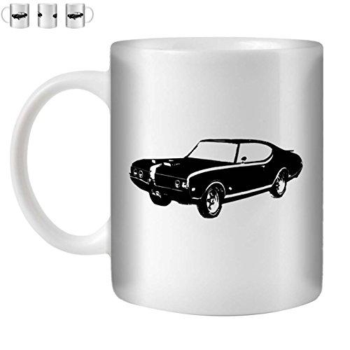 STUFF4 Tea/Coffee Mug/Cup 350ml/Black/Hurst Olds 442 Muscle/White (Oldsmobile 442 Hurst Set)