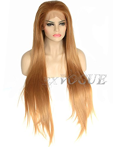 Exvogue Long Honey Blonde Wig Straight Fiber Hair Lace Front Synthetic Wigs #27