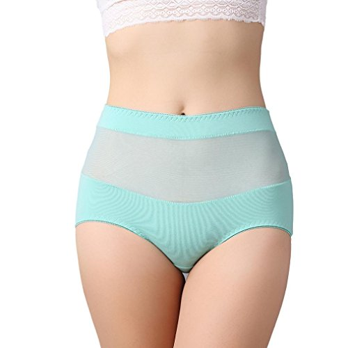 Women High Waist Cotton Panty, Witsapce Girls Comfortable Breathable Stretch Underwear Hipster-Plus Size (Blue, L)