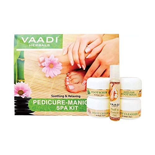 - Pedicure Manicure Kit with Grapeseed Extract and Fenugreek Soothing and Relaxing ALL Natural Suitable for All Skin Types and Both for Men and Women - 135 Grams - Vaadi Herbals