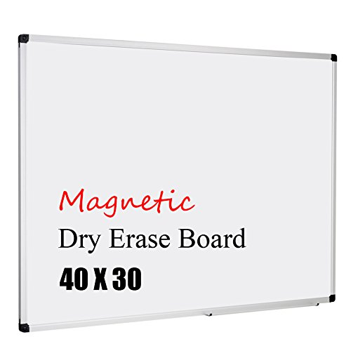 XBoard Aluminum Frame Wall-Mounted 40 x 31 Inch Magnetic White Dry Erase Board with Removable Marker - Professional White Wall 30