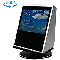 Echo Show Stand- Black 360° Spinning Stand For The Echo Show, Aluminum Mount with Rotatable Metal Base, and Complementary Glass Screen Protector, a U.S. Solid Product