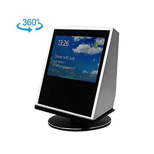 Echo Show Stand- Black 360° Spinning Stand For The Echo Show, Aluminum Mount with Rotatable Metal Base, and Complementary Glass Screen Protector, a U.S. Solid Product by U.S. Solid