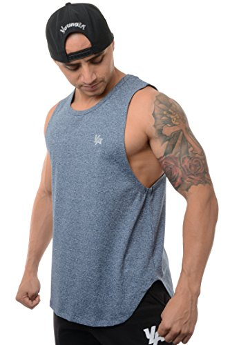YoungLA Tank Tops Men Workout Muscle Gym Bodybuilding Long Shirts 309 Dotted Blue X-Large
