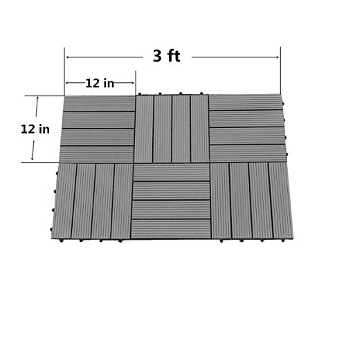 Abba Patio 12 x 12 Inch Outdoor Four Slat Wood-Plastic Composite Interlocking Decking Tile, 6 Pieces One Pack, Dark Grey