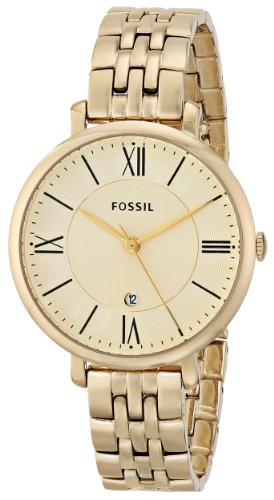 (Fossil Women's ES3434 Jacqueline Gold-Tone Stainless Steel Watch)