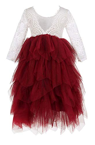 2Bunnies Girl Peony Lace Back A-Line Tiered Tutu Tulle Maxi Flower Girl Dress (Burgundy Long Sleeve Maxi, 7-8YRS) ()