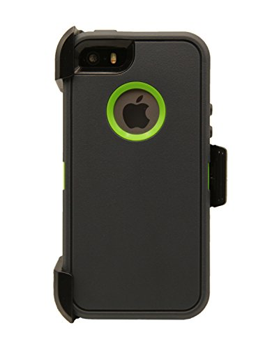 WallSkiN Turtle Series Cases for iPhone 5/5S/5SE (Only) Full Body Protection with Kickstand & Holster - The Oxbow (Dark Grey/Green)
