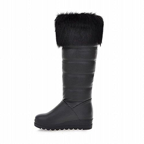 Carol Chaussures Mode Femmes Fausse Fourrure Chaude Hiver Utilisation Confort Froid-temps Hautes Bottes De Neige Noir