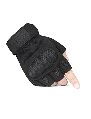 FREE SOLDIER Outdoor Men Military Hard Knuckle Half Finger Glove Tactical Armor Gloves (Black X-Large)