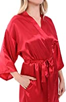 Alexander Del Rossa Womens Satin Bridesmaid Robe, Mid-Length Dressing Gown