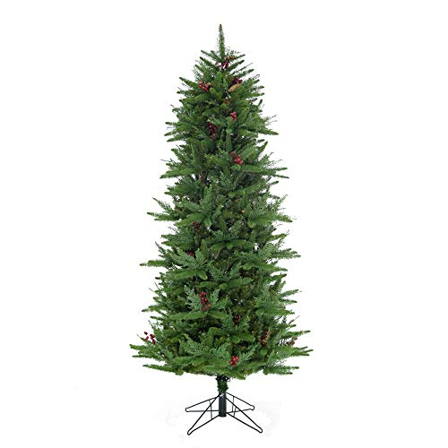 Fraser Hill Farm Green 7.5-Ft Evergreen Slim Christmas Tree with Pinecones, Berries and Metal Stand (Farm Christmas Tree Berry)