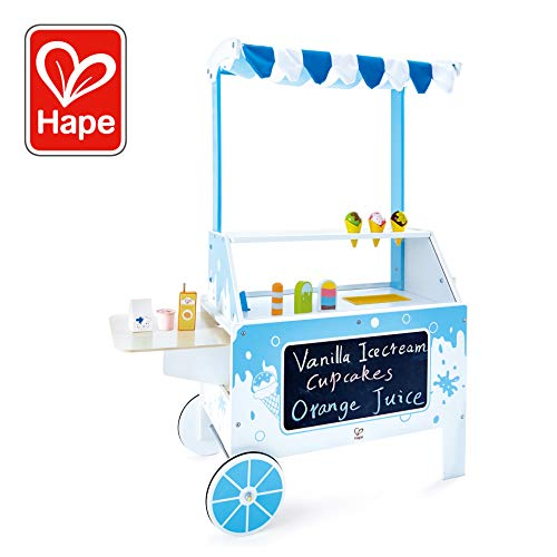 Award Winning Hape Ice Cream Emporium Wooden Play Kitchen Toy with Accessories (Portable Ice Cream Cart)