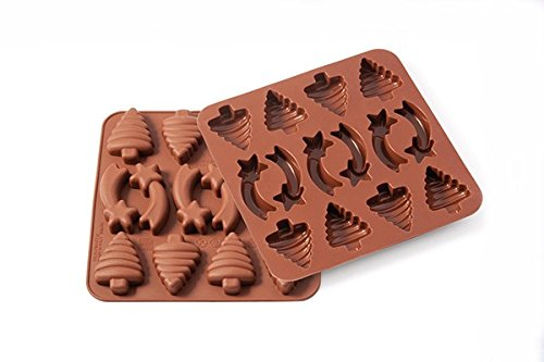 Wonder Cakes by Silikomart 22.501.77.0069 Moule Thè me Noel Silicone Marron 1, 2 x 15, 5 x 16, 3 cm