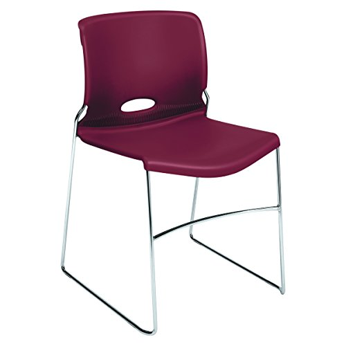 HON Olson Stacking Chair - Guest Chair for Office, Cafeteria, Break Rooms, Training or Multi-Purpose Rooms, Mulberry/Red Shell, 4 pack (H4041) - Olson Stacker Series Chair Cart