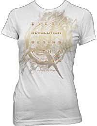 The Hunger Games 2: Catching Fire Mockingjay Glow Juniors White T-Shirt