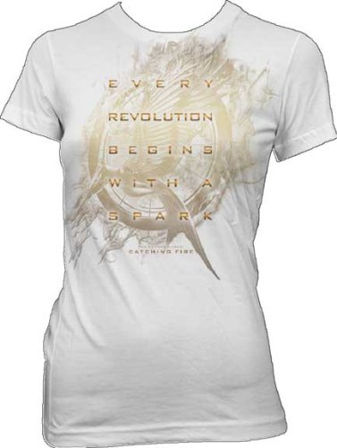 The Hunger Games 2: Catching Fire Mockingjay Glow Juniors White T-Shirt | M