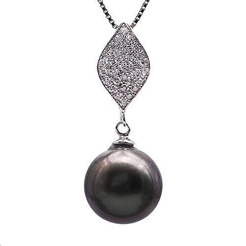 JYX Pearl Tahitian Necklace Genuine AAA Quality 10.5mm Round Cultured Tahitian Black Pearl Pendant Necklace for Women