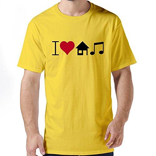 GZG Men's I Love House Music Cotton T-Shirt Yellow L