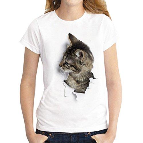ISSHE Oversize T Shirt Damen Sommer Katze Print Rundhals T Shirts Kurzarm  Frauen Lockere T- 3f371858e7