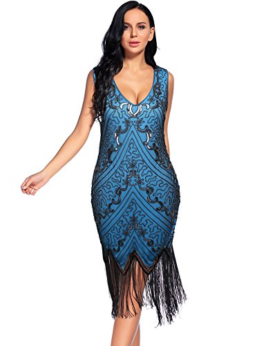 blue 1920s dress - 5