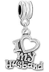 """I Love My Husband "" Charm Dangle Bead Compatible with Snake Chain Bracelets"