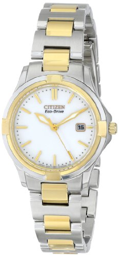 Bracelet Two Drive Eco Tone (Citizen Eco-Drive Women's EW1964-58A Silhouette Sport Analog Display Two Tone Watch)