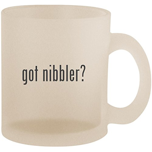 got nibbler? - Frosted 10oz Glass Coffee Cup Mug