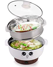 MINGPINHUIUS Multi Electric Skillet Wok Rice Cooker Steamer Small Nonstick with Lid