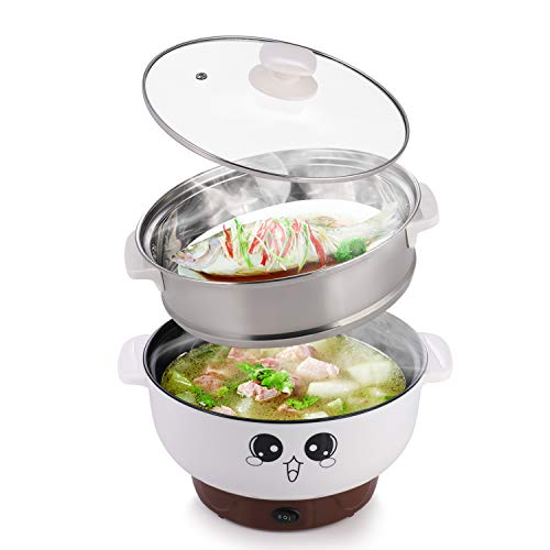 MINGPINHUIUS 4-in-1 Multifunction Electric Cooker Skillet Wok Electric Hot Pot For Cook Rice Fried Noodles Stew Soup Steamed Fish Boiled Egg Small Non-stick with Lid (2.8L, with - Fried Rice Egg