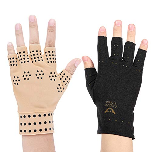 Magnetic Therapy Massage Gloves Arthritis Pressure Pain Relief, Black Skin Tone (Color : Skin tone) (Magnetic Arthritis Gloves)