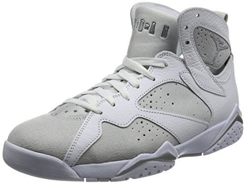 Jordan Mens Air 7 Retro, WHITE/METALLIC SILVER-PURE PLATINUM, 9.5 M US by Jordan