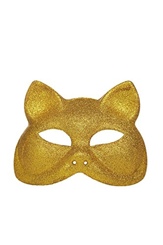 Venetian Masquerade Cat Face Mask With Ears Mardi Gras Halloween Party Wall Decor (Gold)