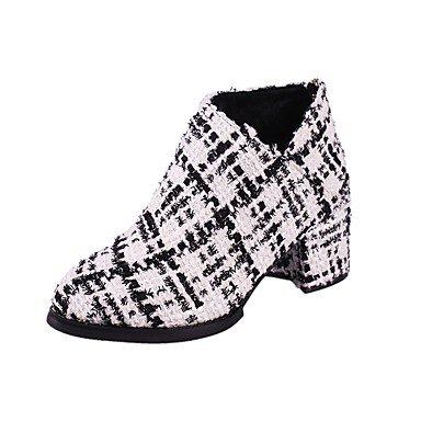 RTRY Zapatos De Mujer Tejer La Moda Invierno Botas Botas Chunky Talón Señaló La Convergencia Para Informales De Oro Blanco Y Negro US6 / EU36 / UK4 / CN36