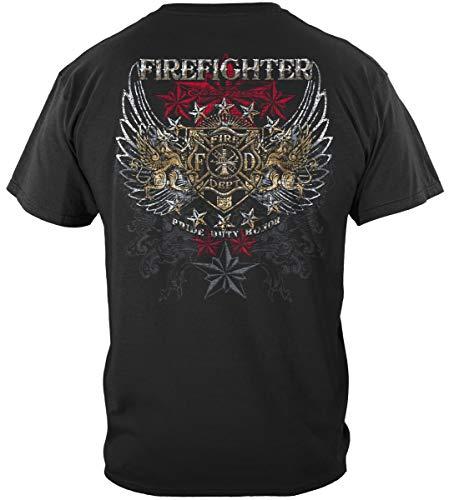 ELITE BREED FIREFIGHTER PRIDE DUTY HONOR SILVER FOIL T-Shirt,Black XL